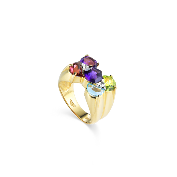 14K Yellow Gold multicolour gemstones ring Montreal jewellery desiger