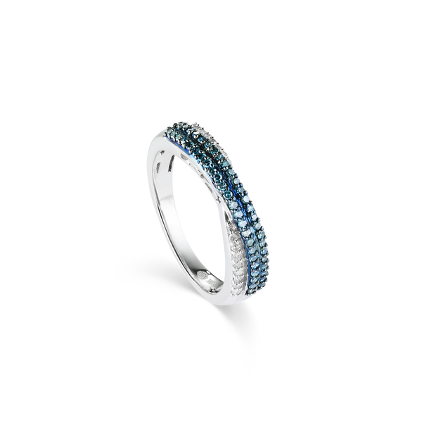 10K White Gold Ring with White & Blue Diamonds from Montreal jewellery Designer Bijouterie Elysee, Montreal CANADA