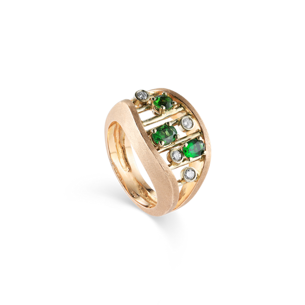14K Pink Gold Ring with Green Garnets and Diamonds