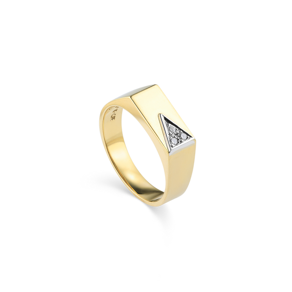 14K Yellow Gold Ring set with diamonds from Montreal jewellery Designer Bijouterie Élysée, Montreal CANADA