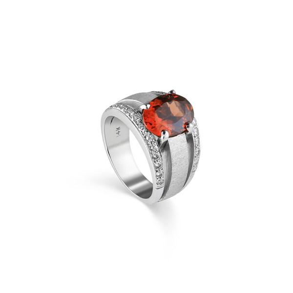 14K White Gold Mandarin Garnet & Diamond Ring