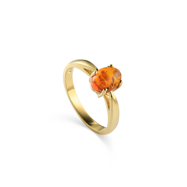 14K Yellow gold and amber ring.Montreal jewellery designer and gemstone dealer.