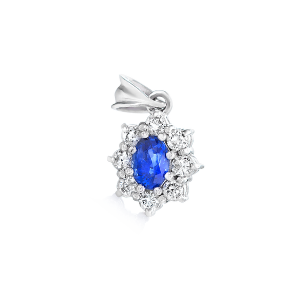 Sapphire & Diamond Pendant Set in 14k White Gold