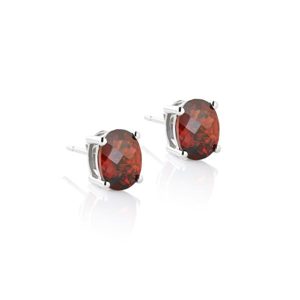 WHITE GOLD AND OVAL GARNET EARRINGS, garnet earrings, garnet studs, January birthstone garnet, oval garnets montreal,  garnets checkerboard cut www.elysee.ca