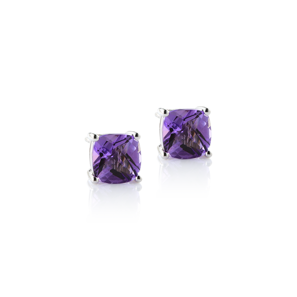 Amethyst montreal, amethyst earrings, amethyst studs, purple earrings montreal, white gold and amethyst stud earrings, amethyst square earrings, amethyst studs, checkerboard amethyst Montreal Jewellery Designer www.elysee.ca
