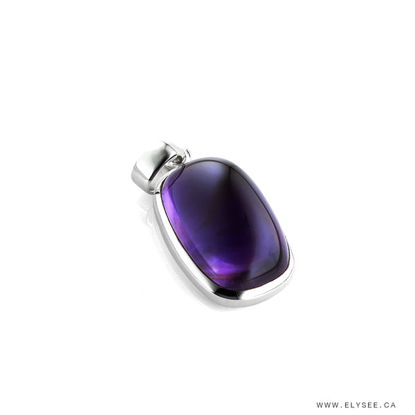 AMETHYST PENDANT IN SILVER, AMETHYST AND SILVER PENDANT, PURPLE PENDANT, CABOCHON AMETHYST PENDANT, MONTREAL JEWELER, SILVER AND GEMSTONE JEWELERY, rectangular amethyst pendant, rectangular cabochon amethyst