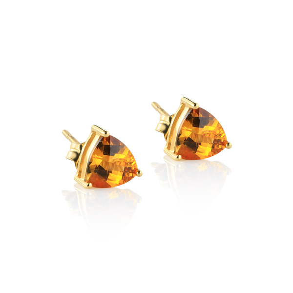 Trillion citrine earrings, citrine montreal, yellow gold citrine earrings, citrine stud earrings, checkerboard citrine studs, checkerboard stones, gold 14K and citrine, 14k gold earrings  Montreal jewellery designer www.elysee.ca