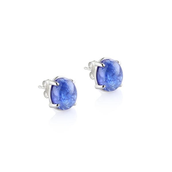 Cabochon Tanzanite Earrings, 14K white gold tanzanite stud earrings, Cabochon Tanzanite, Tanzanite Montreal, White gold Earrings.  Montreal jewellery designer www.elysee.ca