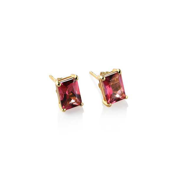 Pink Topaz studs, 14K yellow gold and pink topaz stud earrings,  Topaz earrings, Pink topaz earrings, stud earrings Montreal Jewellery Designer www.elysee.ca