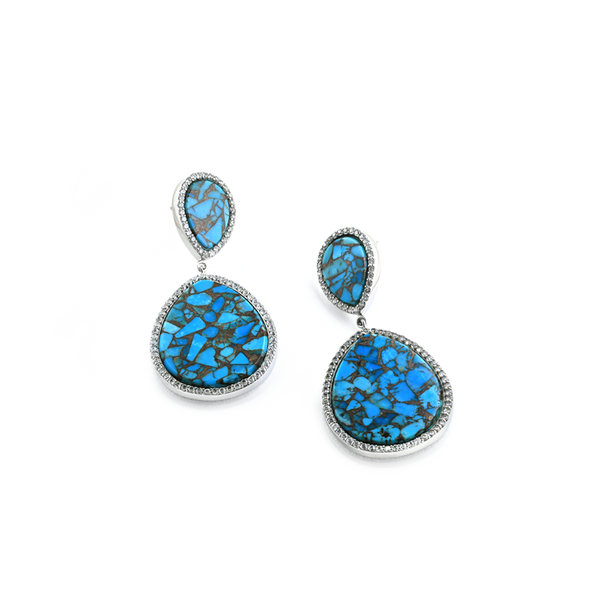 Reconstituted turquoise, CZ and silver earrings. Silver Earrings, Turquoise earrings, Turquoise and CZ Earrings, Montreal Turquoise