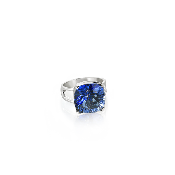 Sterling Silver ring set with blue topaz from your montreal jewellery designer, www.elysee.com