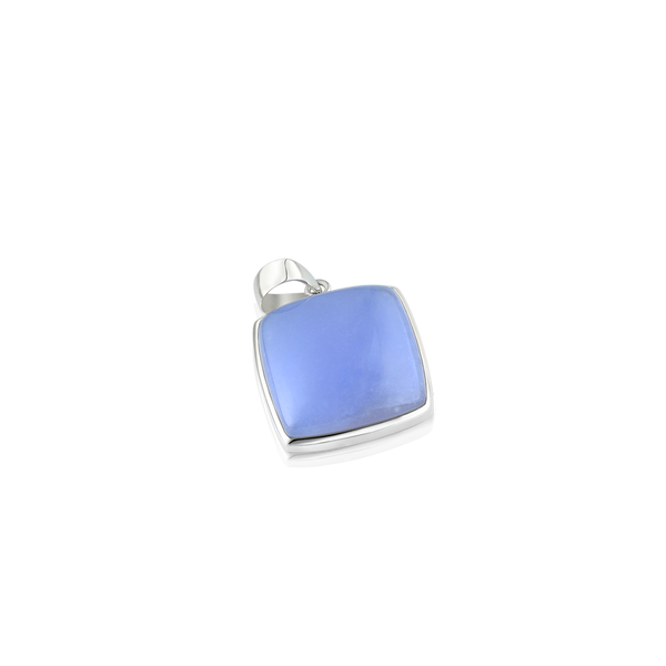 Natural chalcedony, chalcedony pendant, silver and chalcedony pendant, silver jewellery, cushion chalcedony, chalcedony montreal, silver pendants montreal,
