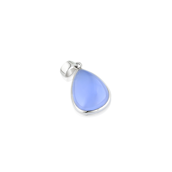 Natural chalcedony, chalcedony pendant, silver and chalcedony pendant, silver jewellery, teardrop chalcedony, chalcedony montreal, silver pendants montreal,