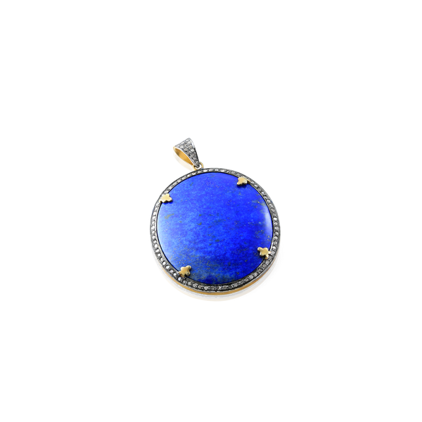 Gold plated silver, diamonds and lapis lazuli pendant.Montreal Jewellery designer www.elysee.ca
