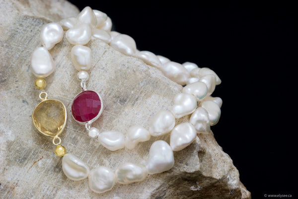 White freshwater pearl with gemstone accent from your montreal jewellery designer www.elysee.ca stacking bracelets