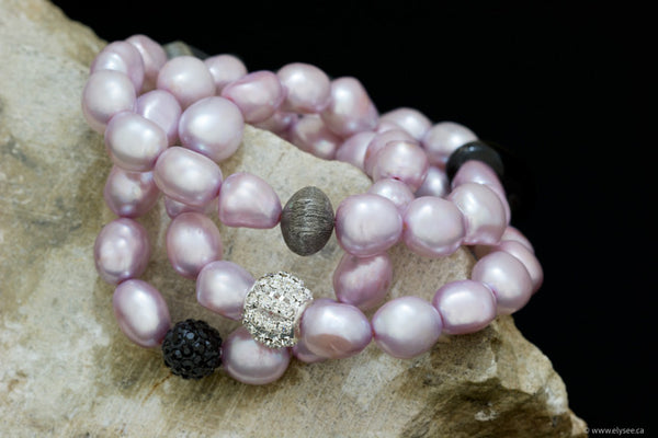 Stacking bracelets of pink freshwater pearls and CZ/oxidised silver accent handcrafted in CANADA by your montreal jewellery designer www.elysee.ca.