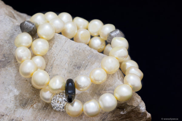 Golden yellow freshwater pearl bracelets with silver accents handcrafted in Canada from your montreal  jewellery designer www.elysee.ca