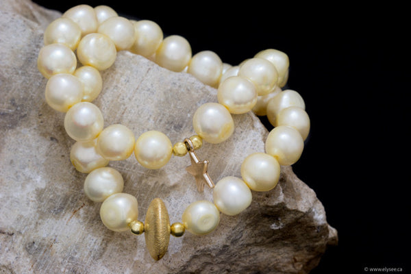 Stacking bracelets in golden yellow pearls with gold accents handcrafted in canada by your montreal jeweller www.elsyee.ca