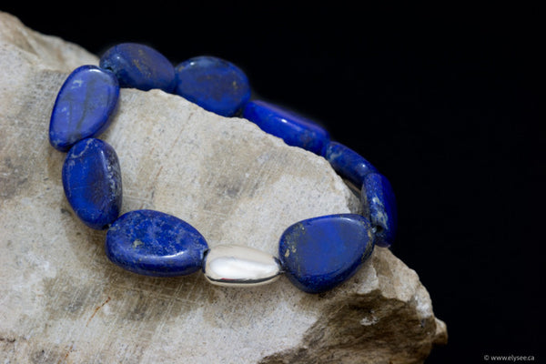 Top quality Lapis Lazuli Bead bracelet with silver bead accent handcrafted in canada by montreal jewellery designer www.elysee.ca