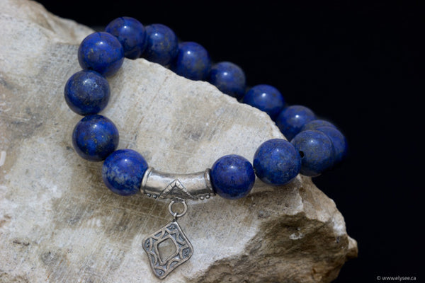 Lapis Lazuli Bead bracelet with silver accent - montreal jewellers and designers