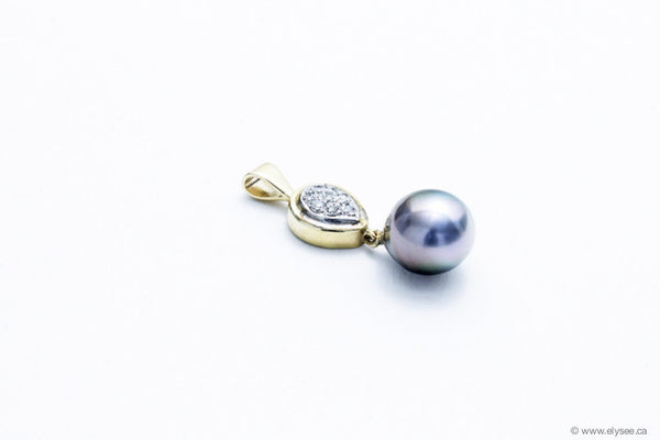 14K yellow gold pendant with a Tahitian pearl and diamonds designed by montreal jeweller