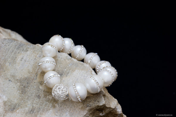 FRESHWATER PEARL BRACELET WITH STERLING SILVER BEAD