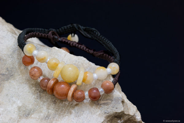 Cream or brown jade bracelets handwoven in Myanmar for Montreal jewellery designer/Montreal jeweller www.elysee.ca