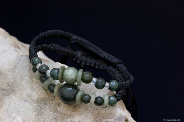 Handwoven myanmar Jade bracelets available at montreal jewellery designer www.elysee.ca