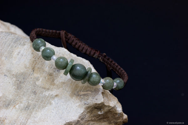 Handwoven green or brown jade bracelets from Myanmar available at Montreal jeweller www.elysee.ca