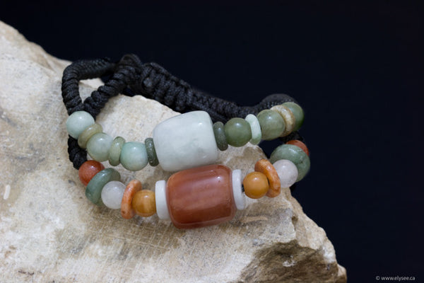 Assorted coloured jade bracelet handwoven in Myanmar for Montreal jewellery designer www.elysee.ca