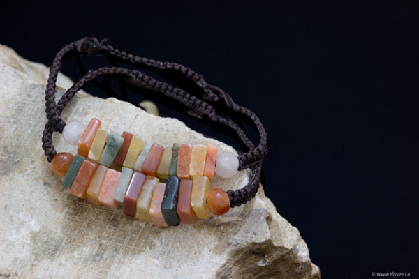Handwoven in Myanmar multicoloured jade bracelets at Montreal jeweller www.elysee.ca