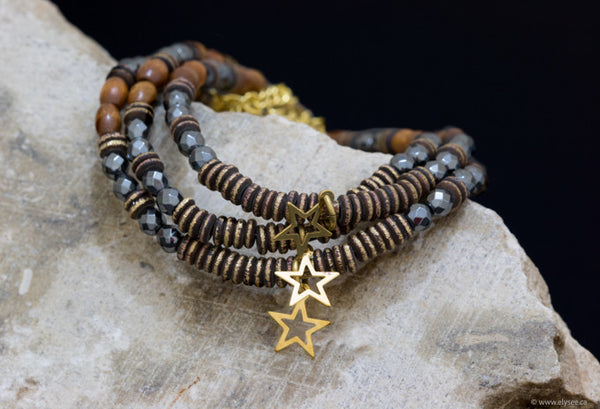 Hematite and wood bead bracelets handcrafted for your montreal jewellery designer www.eleysee.ca   Stacking bracelets