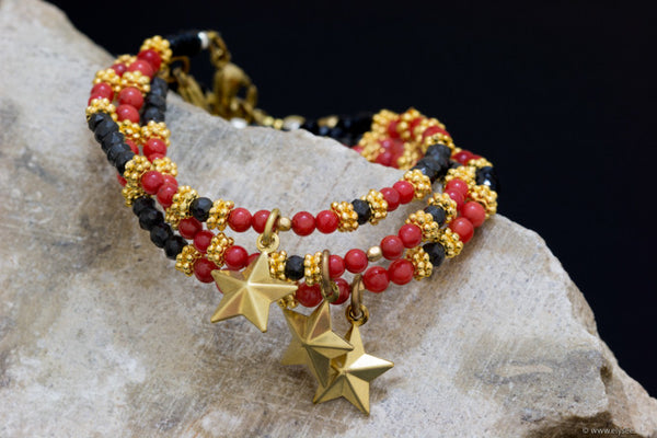 Red Sea Bamboo and facetted spinel bracelet handcrafted for your montreal jewellery designer www.elysee.ca