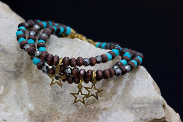 Turquoise, Wood Bead and Hematite Bracelet