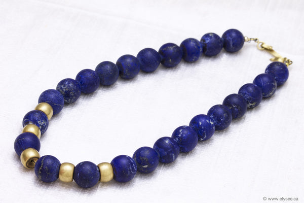 18K Yellow gold beads and lapis lazuli necklace