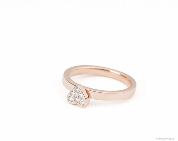 Pink heart ring with diamonds in gold. Montreal pink gold ring www.elysee.ca