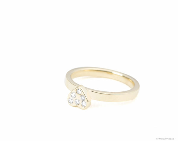 Yellow gold heart ring with diamonds, Montreal stacking heart rings, from your montreal jeweller www.elysee.ca