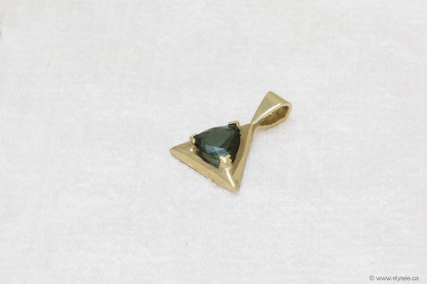 14K Yellow gold and green tourmaline