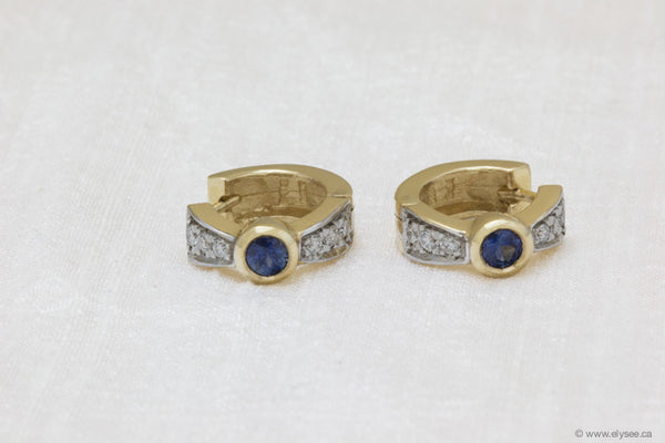 14K Yellow gold, diamonds and sapphire earrings.