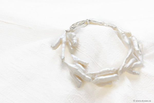 Two strand White freshwater stick pearl bracelet.