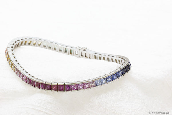18K WHITE GOLD SQUARE CUT FANCY SAPPHIRE BRACELET