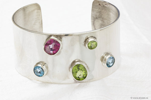 MULTI GEMSTONE AND SILVER BRACELET CUFF