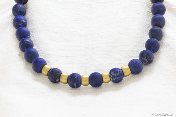 LAPIS LAZULI WITH 18K BRUSHED GOLD BEADS AND CLASP
