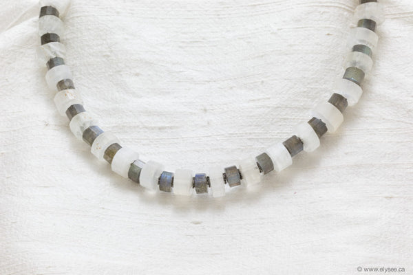 LABRADORITE, MOONSTONE AND SILVER NECKLACE.