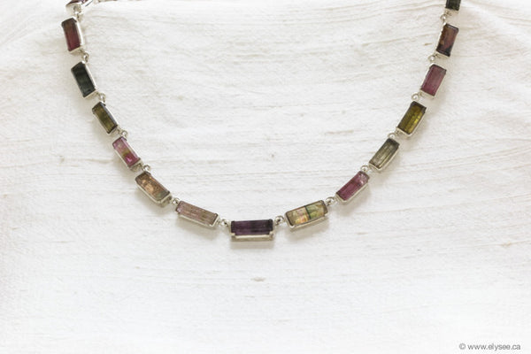 WATERMELON TOURMALINE AND SILVER NECKLACE