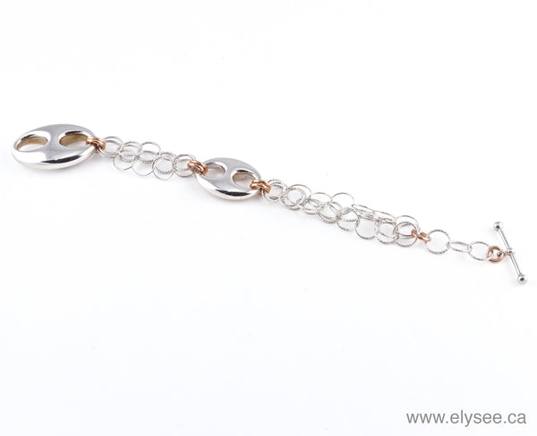 Silver Bracelet with Pink Gold