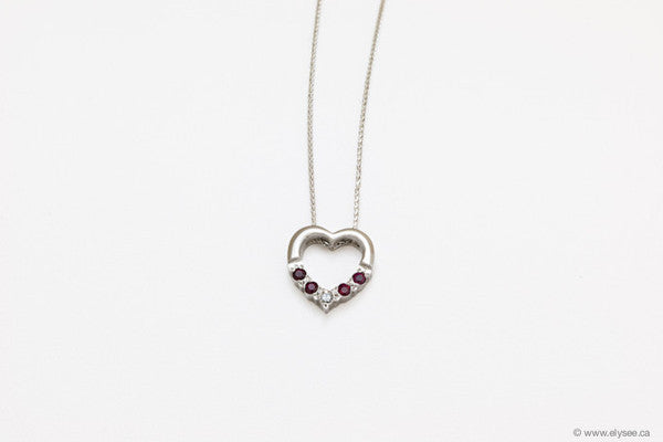 Mothers day gift - gold and ruby/diamond pendant