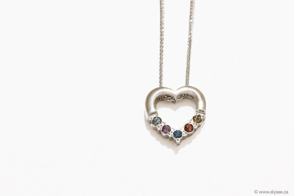 Mothers day gift - gold and assorted gemstones heart pendant