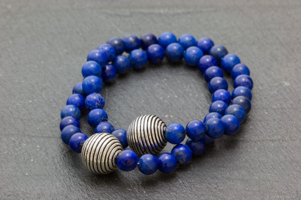 Lapis Lazuli bracelet accented with Bail silver bead handcrafted in canada by your montreal jewellery designer.