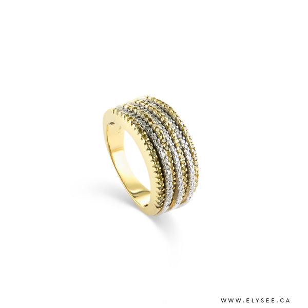 14K Yellow gold and diamond ring Montreal jewellery designer